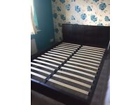 King size faux leather bed + mattress