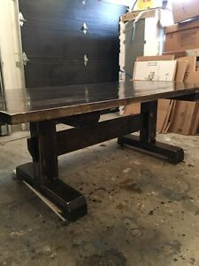 Rustic Harvest Trestle Table with Antiqued Features