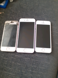 3 iPhones spares and repairs 2 have no passcodes
