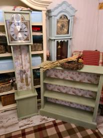 Grandmother clock and matching shelf unit