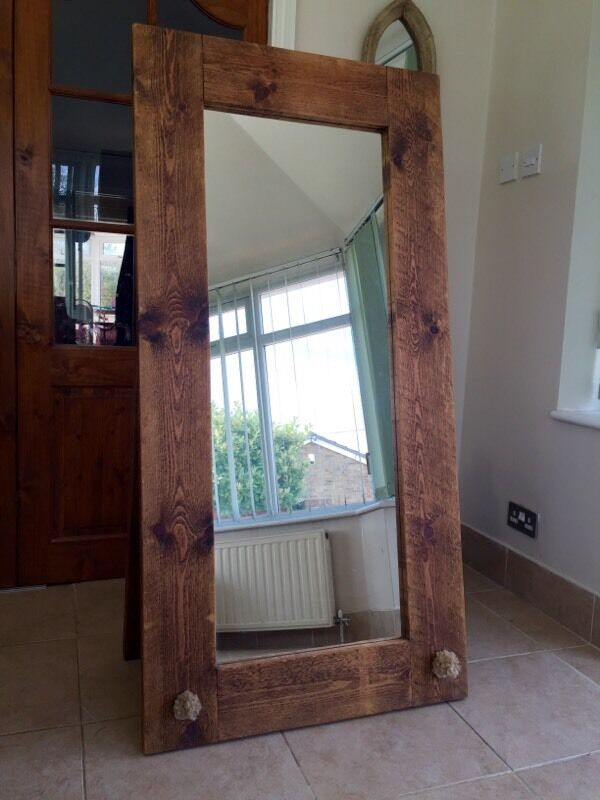 Chunky Plank Wood Mirror Full Length Free Standing