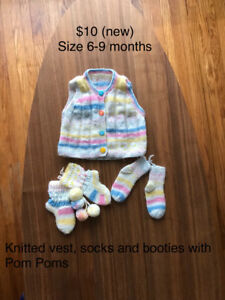 6-9 months knitted vest, booties and socks