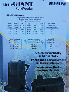 Submersible pond pump -Little Giant - PRICE REDUCED