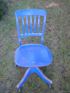 NICE ANTIQUE RETRO OAK SWIVEL CHAIR DISTRESSED BLUE FINISH