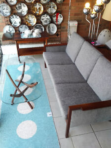 Vintage teak mid century sofa  coffee table