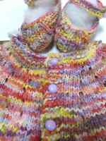 Hand Knit 0-3 mo. 100% Hand Dyed Wool Short Sleeve Baby Cardigan