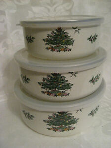 3 Spode Christmas Tree Pattern Enamelware Storage Containers