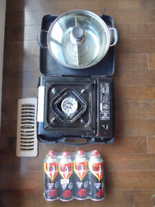 Complete set of Portable Gas Stove, Yin Yang Hot Pot Cookware &