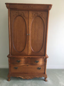FURTHER REDUCED Solid Oak Armoire Television Unit
