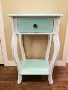 Adorable Antiqued Side Table with Drawer
