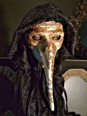 Spooky Long Nose Pagan Masquerade Carnival Halloween Mask with Hooded Cloak - Pagan Halloween Mask