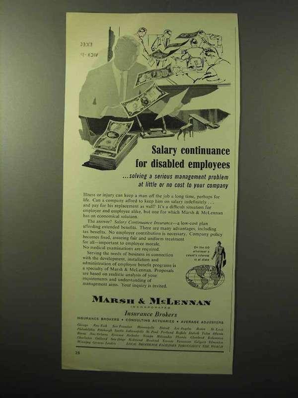 1964 Marsh & McLennan Insurance Ad - Disabled