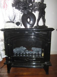 Foyer électrique en marbre noir