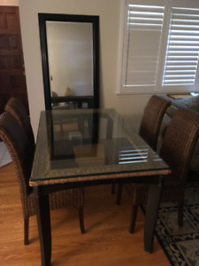 Glass top  Table and 4 rattan chairs