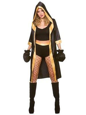 Adult Knockout Boxer Costume & Gloves Fancy Dress Sports Ladies Fighter - Sport Fancy Dress Kostüm