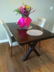 Oak Table and two high back chairs