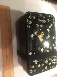 2 Tier Rabbit Bento box Usagi Japan Cherry Blossom Tupper Ware