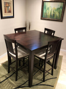 Contemporary Square Counter Height Dining Set - Expresso Wood