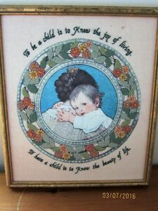 "HAND CREWEL STICH BABY THEME... FRAMED12""X14""-reduced"