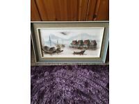 Framed Chinese themed oil on canvas, signed Tony Wong ( known Chinese artist ).