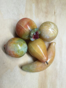 Lot of 5 Vintage ALABASTER STONE FRUITS decoratives gift