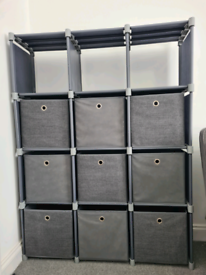 12 cube storage unit with 9 boxes