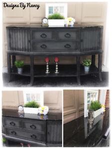 Stunning Black Marble Top Sideboard/Buffet!