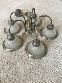 -Glass Chandelier with brass rims and 5 arms £15