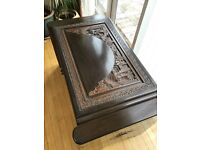 Beautiful carved Chinese camphor wooden chest blanket box toy box