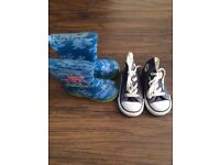 Converse infant size 4 and wellies