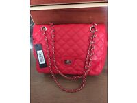 NWT Womens Red Quilted Leather Gold Chain Handle Shoulder Bag. Birthday / Christmas Gift