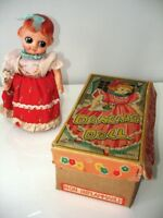 1940s -50s DANCING DOLL ORIGINAL BOX WIND UP tin celluloid JAPAN
