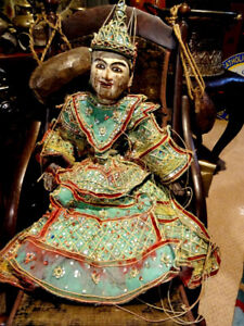 "RARE ANTIQUE Thai MARIONETTE Burmese TEAK hand carved 31"" ORNATE"