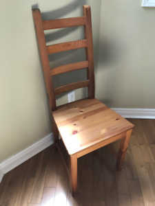 Set of 9 Solid Pine Dining Chairs