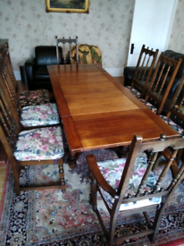 Ercol extendable table and 8 Yorkshire chairs