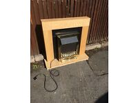 OAK FIRE SURROUND SET WITH FIRE FULLY WORKING ** FREE DROP OFF TODAY **