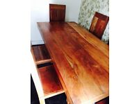 Heavy Rustic Indian wood table and chairs