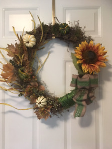 fall sunflower and moss wreath