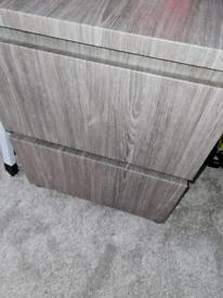 2 draw malm ikea cabinet wrapped in grey but oak underneath