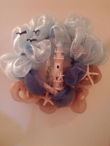 Lighthouse beach mesh wreath for sale.