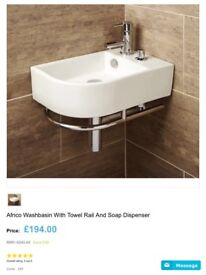 Africa Basin with towel Rail and soap dispenser