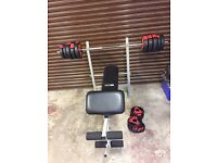 Pro active weight training bench and 51kg adidas weights