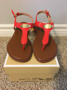 Michael Kors Logo Plaque Leather Sandals - 7.5M