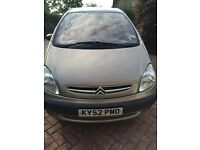 52 plate Citroen Picasso Xsara, long MOT, good mileage-PRICED TO SELL!