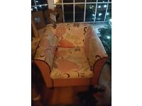 Lovely pink floral armchair, great condition, pet and smoke free home