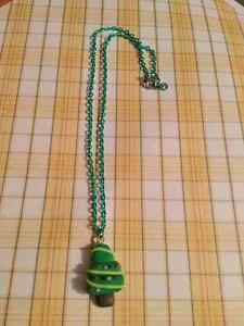 Clay Hand made Christmas Tree Necklace