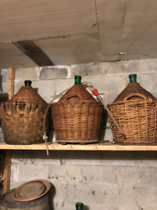 Green Glass Wine Fermenter / Demi-John with wicker outer cover