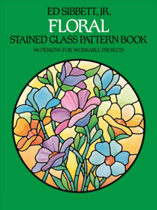 FLORAL STAINED GLASS PATTERN BOOK- mint condition book