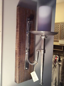 2 STEEL/WOOD ACCENT CANDLE SCONCES London Ontario image 2