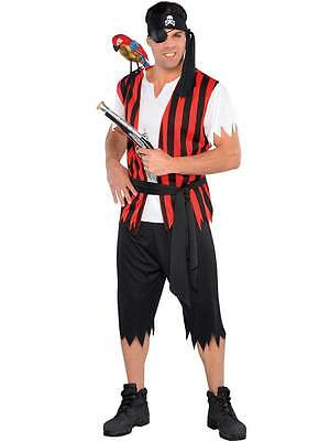 Pirate Matey (Adults Mens Ahoy Matey Pirate Fancy Dress Caribbean Buccaneer Captain Costume)